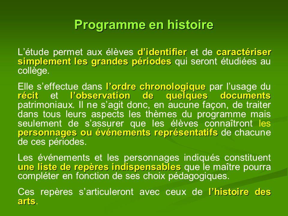 Programme en histoire L'étude permet aux élèves d'identifier et de caractériser simplement les grandes périodes qui seront étudiées au collège.