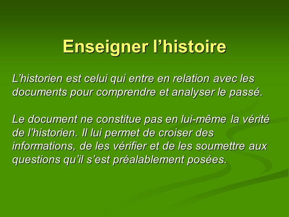 Enseigner l'histoire L'historien est celui qui entre en relation avec les documents pour comprendre et analyser le passé.