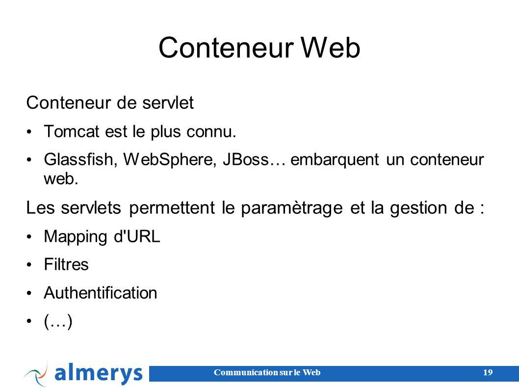 Conteneur Web Conteneur de servlet