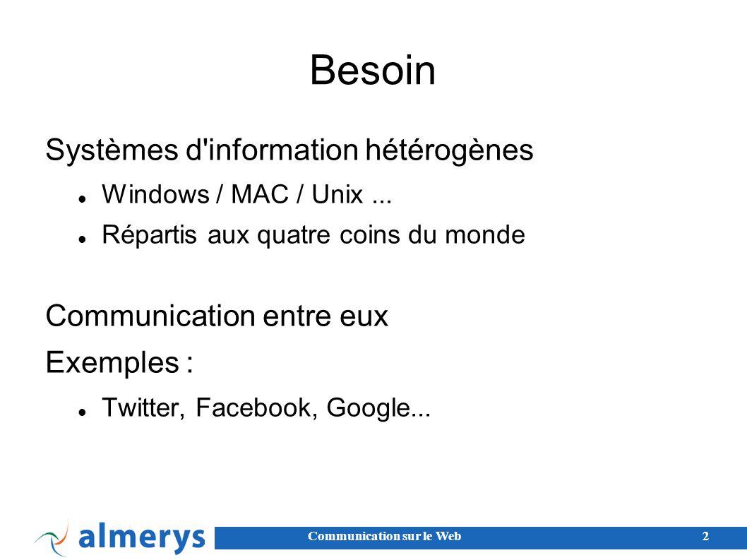 Besoin Systèmes d information hétérogènes Communication entre eux