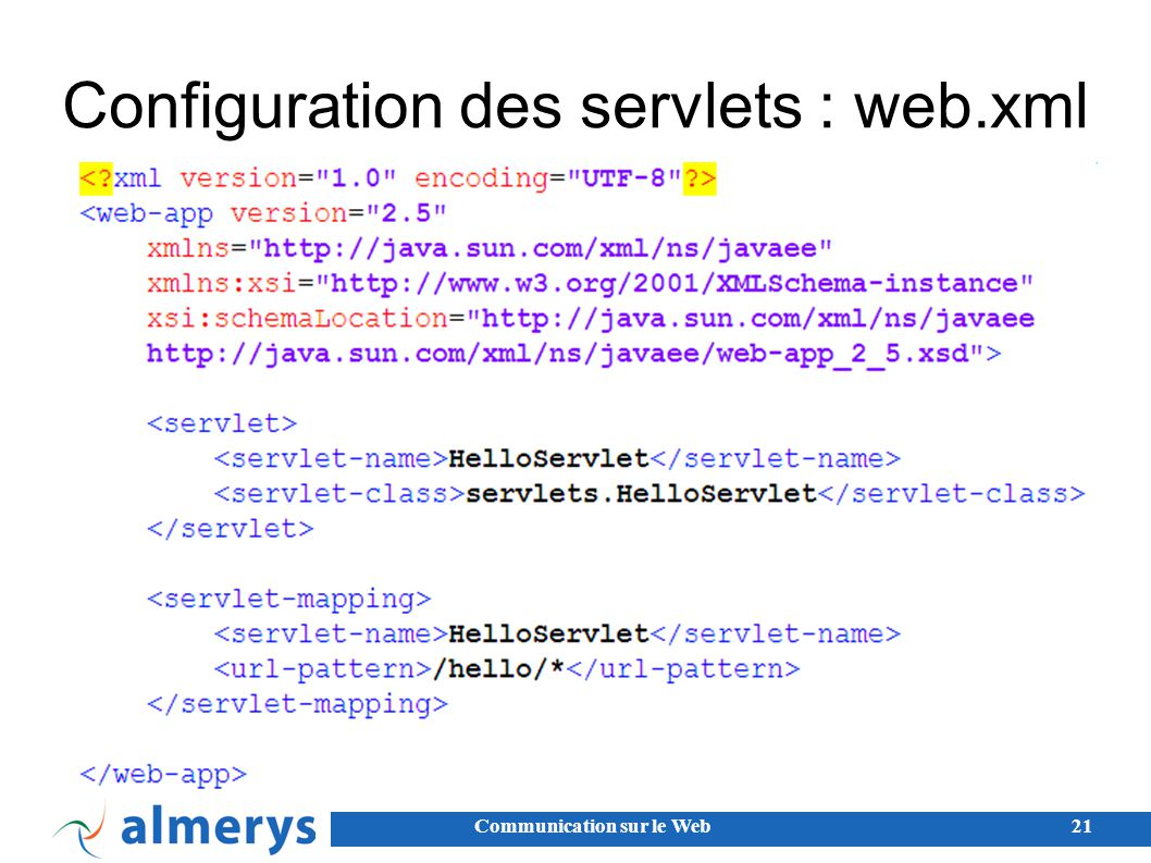 Configuration des servlets : web.xml