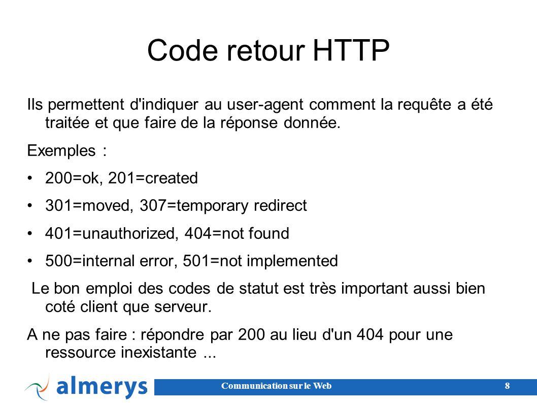 Code retour HTTP Ils permettent d indiquer au user-agent comment la requête a été traitée et que faire de la réponse donnée.
