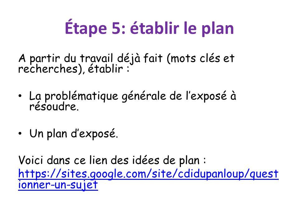 Étape 5: établir le plan A partir du travail déjà fait (mots clés et recherches), établir : La problématique générale de l'exposé à résoudre.