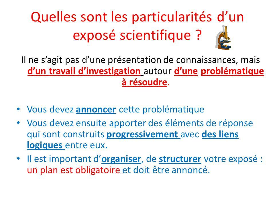Quelles sont les particularités d'un exposé scientifique