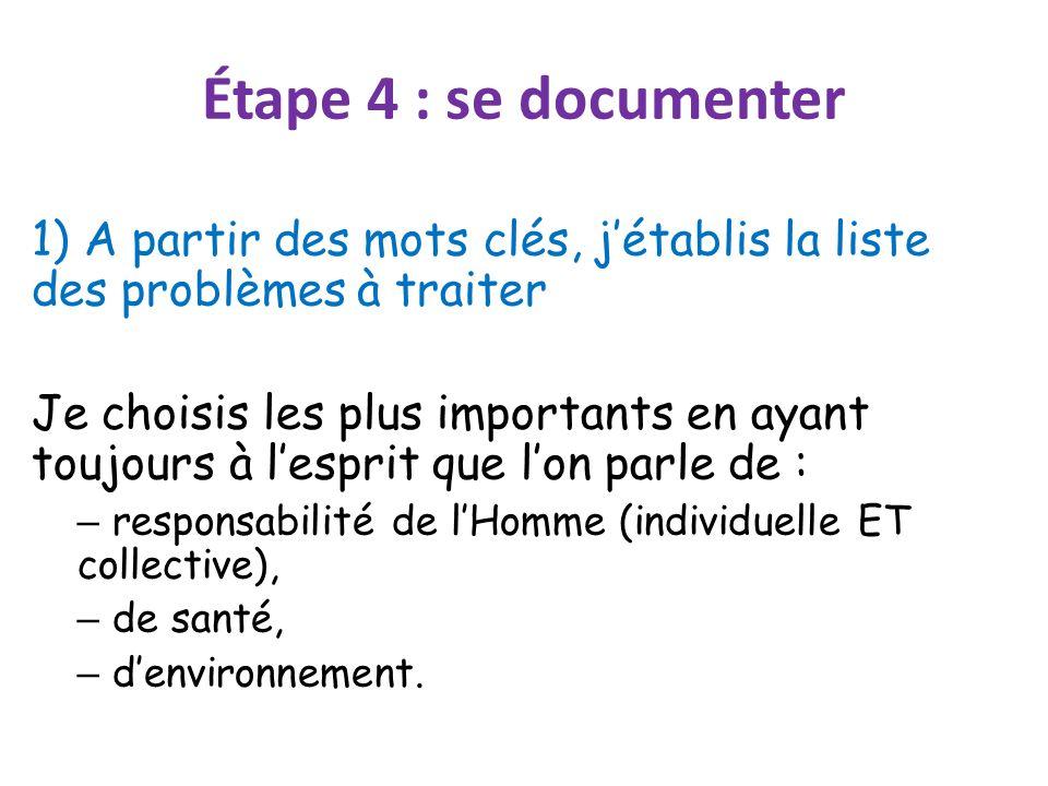 Étape 4 : se documenter 1) A partir des mots clés, j'établis la liste des problèmes à traiter.