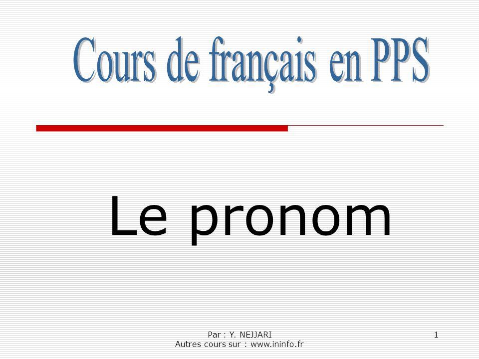 Le pronom Cours de français en PPS