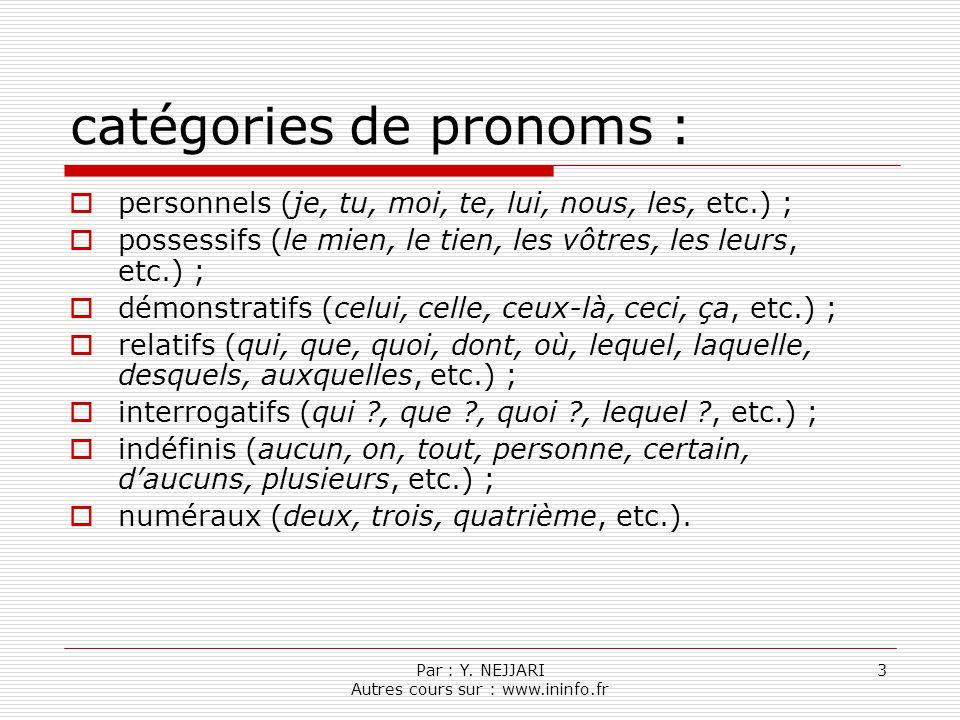 catégories de pronoms :