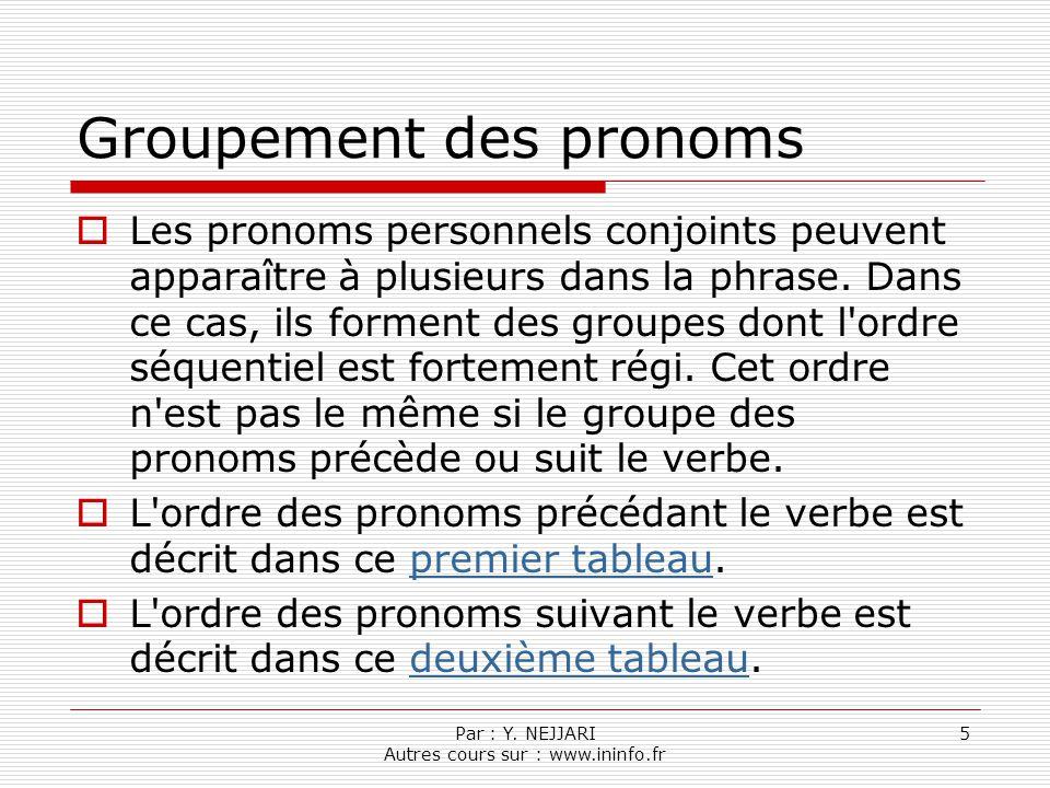 Groupement des pronoms