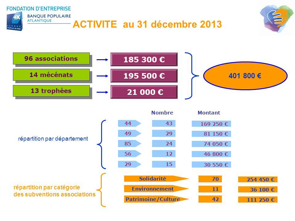 ACTIVITE au 31 décembre 2013 185 300 € 401 800 € 195 500 € 21 000 €
