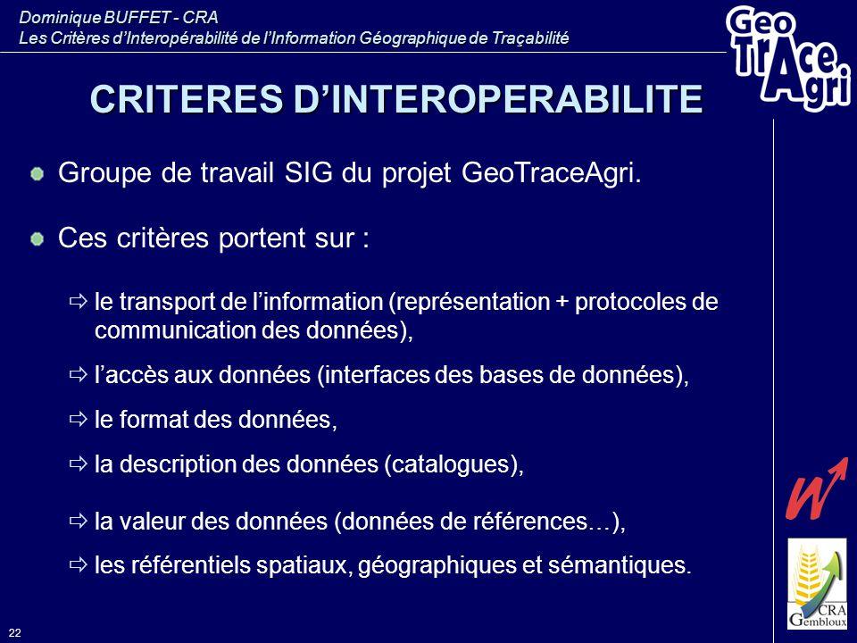 CRITERES D'INTEROPERABILITE