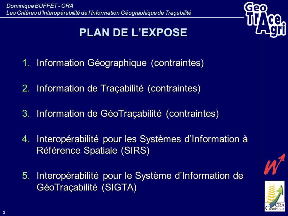 PLAN DE L'EXPOSE Information Géographique (contraintes)