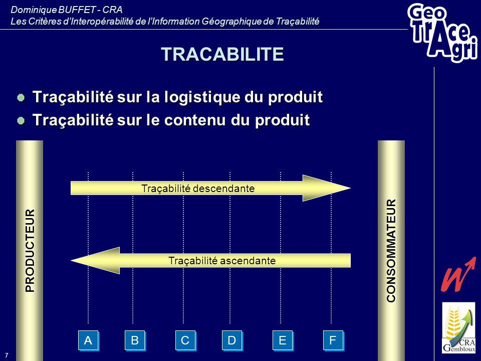 TRACABILITE Traçabilité sur la logistique du produit
