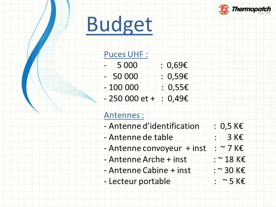 Budget Puces UHF : - 5 000 : 0,69€ - 50 000 : 0,59€ - 100 000 : 0,55€