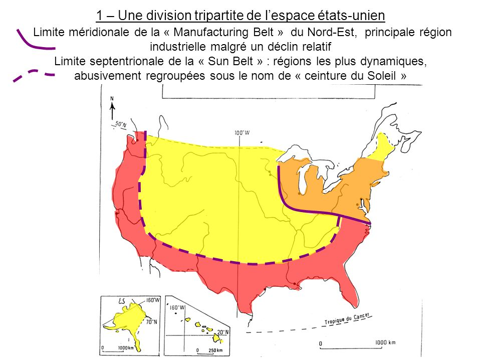 1 – Une division tripartite de l'espace états-unien Limite méridionale de la « Manufacturing Belt » du Nord-Est, principale région industrielle malgré un déclin relatif Limite septentrionale de la « Sun Belt » : régions les plus dynamiques, abusivement regroupées sous le nom de « ceinture du Soleil »