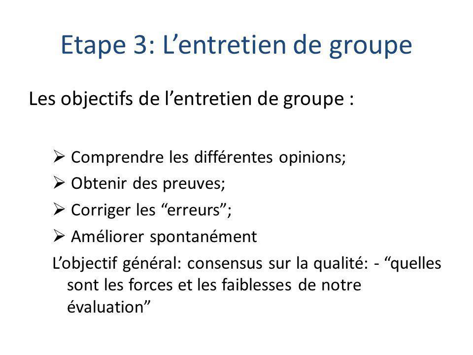 Etape 3: L'entretien de groupe