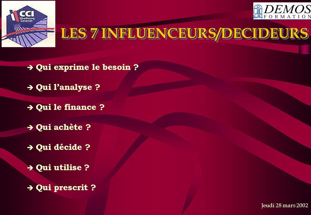 LES 7 INFLUENCEURS/DECIDEURS