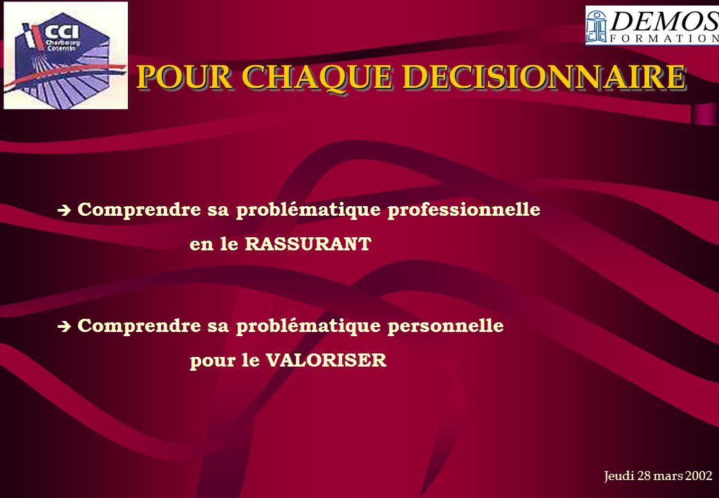 POUR CHAQUE DECISIONNAIRE