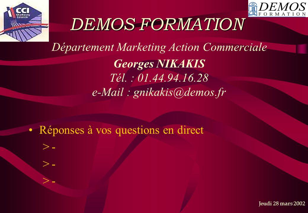 DEMOS FORMATION Département Marketing Action Commerciale