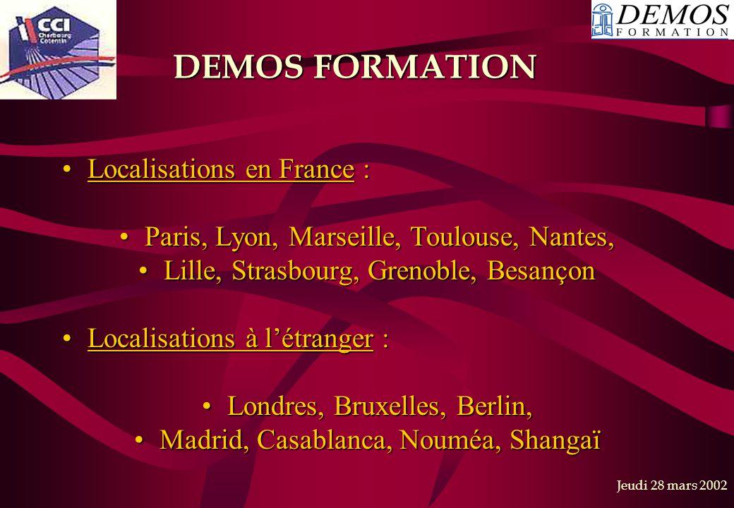 DEMOS FORMATION Localisations en France :