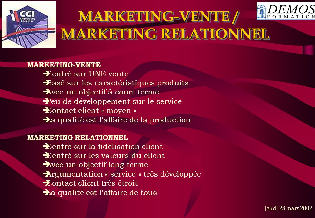 MARKETING-VENTE / MARKETING RELATIONNEL
