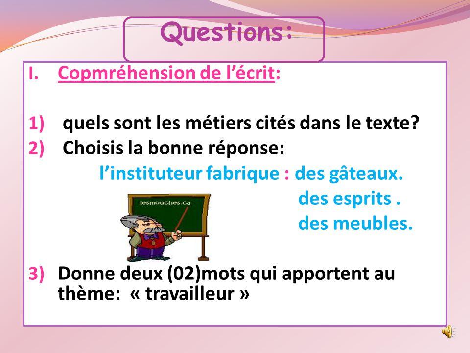Questions: Copmréhension de l'écrit: