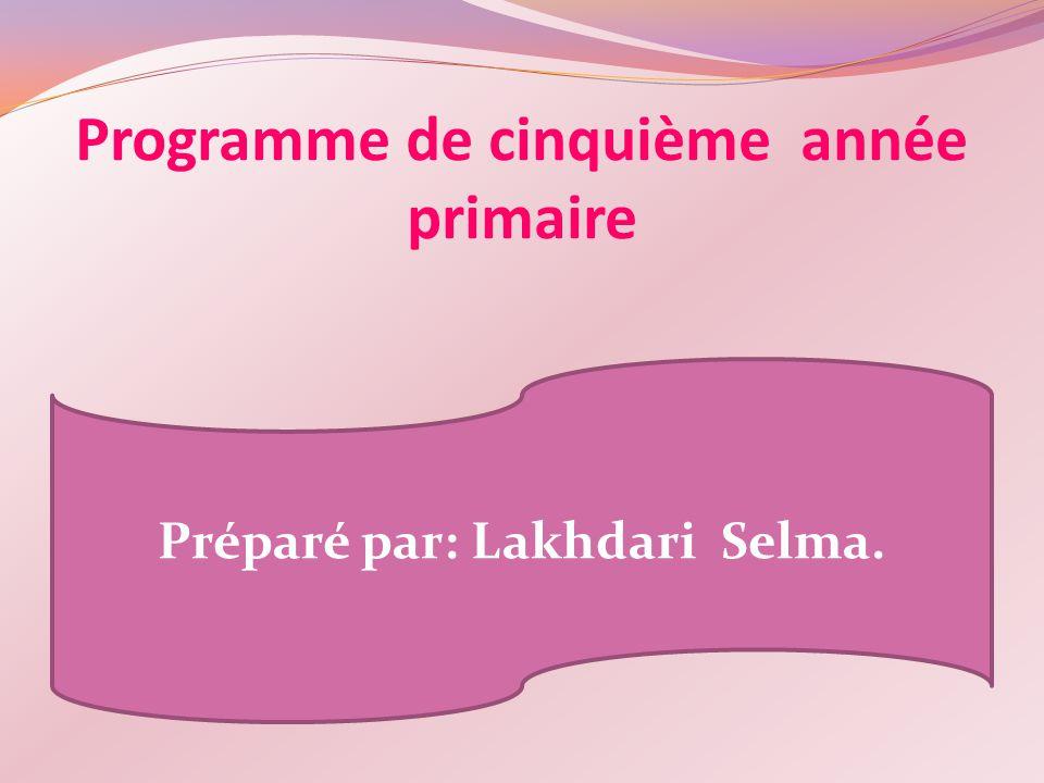Programme de cinquième année primaire