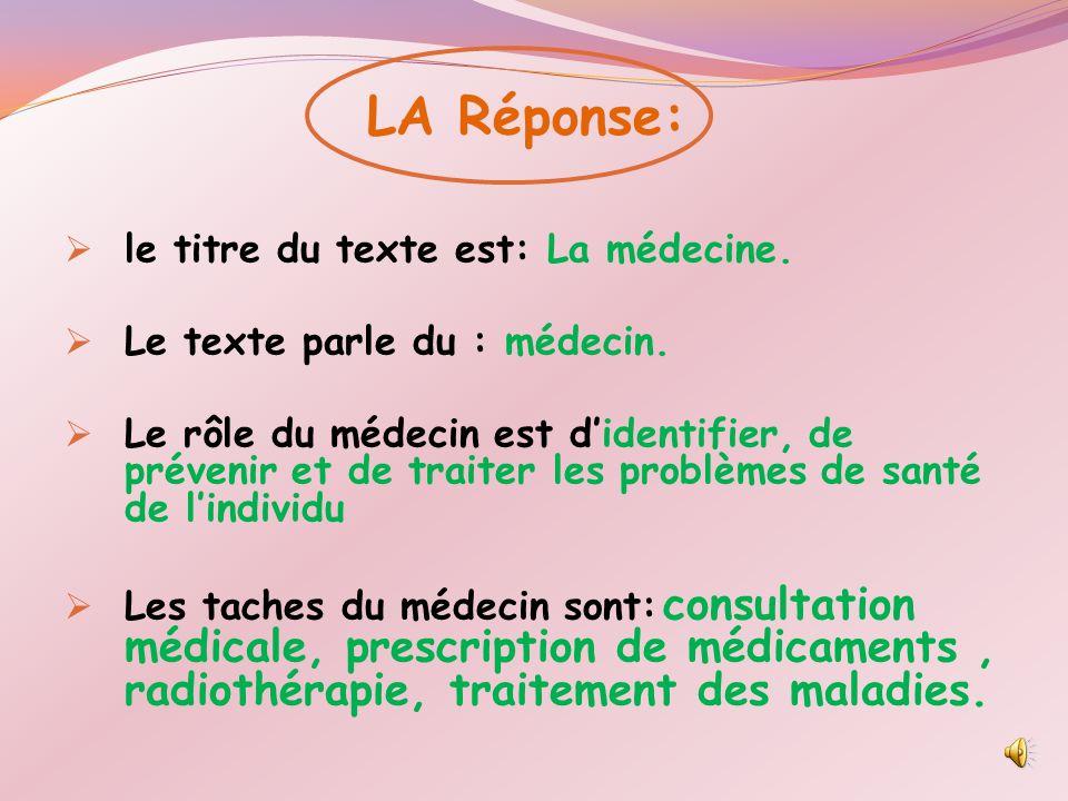 LA Réponse: le titre du texte est: La médecine.