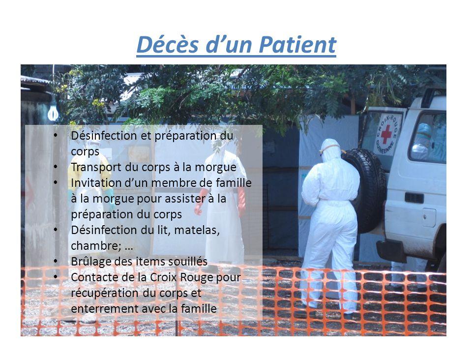 Décès d'un Patient Désinfection et préparation du corps