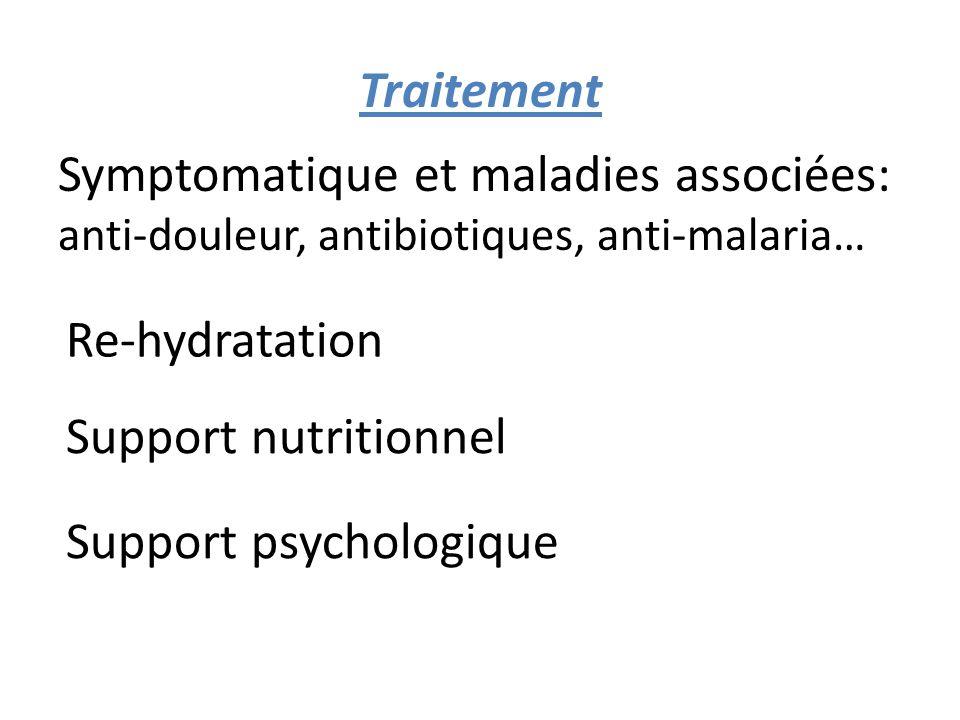 Traitement Symptomatique et maladies associées: anti-douleur, antibiotiques, anti-malaria… Re-hydratation.