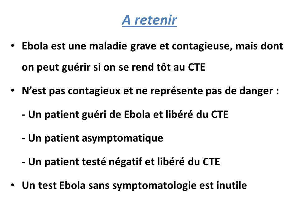 A retenir Ebola est une maladie grave et contagieuse, mais dont on peut guérir si on se rend tôt au CTE.