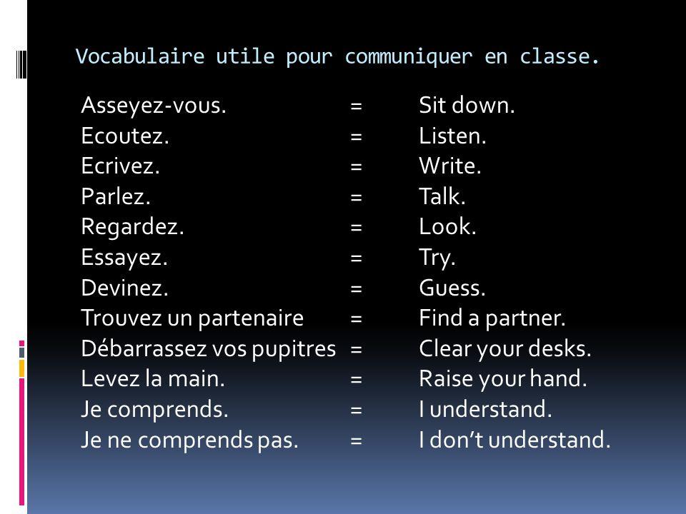 Vocabulaire utile pour communiquer en classe.