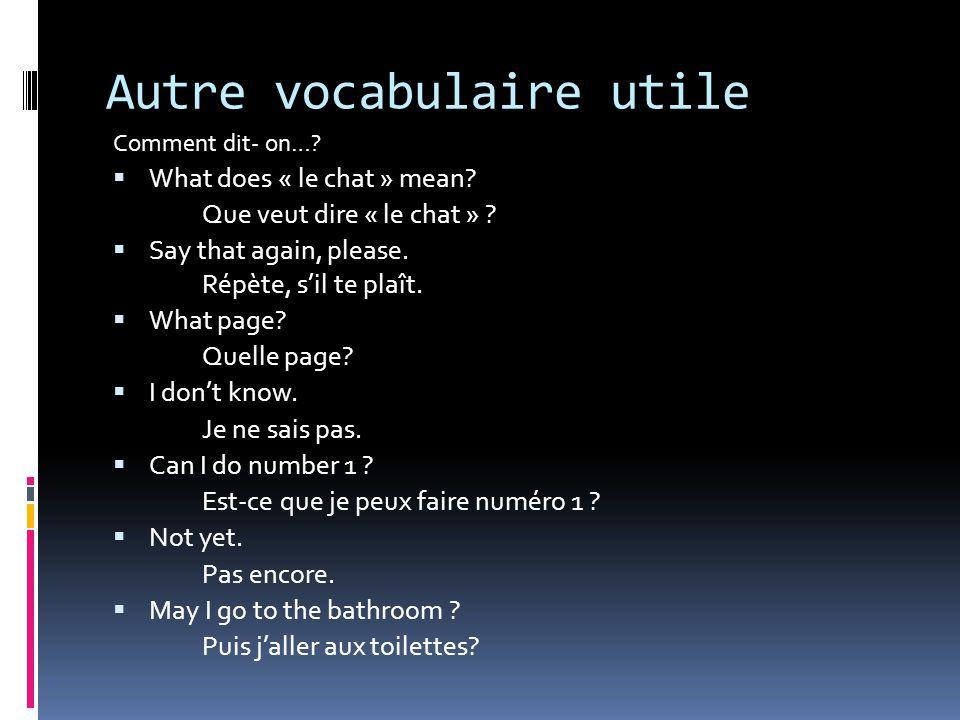 Autre vocabulaire utile
