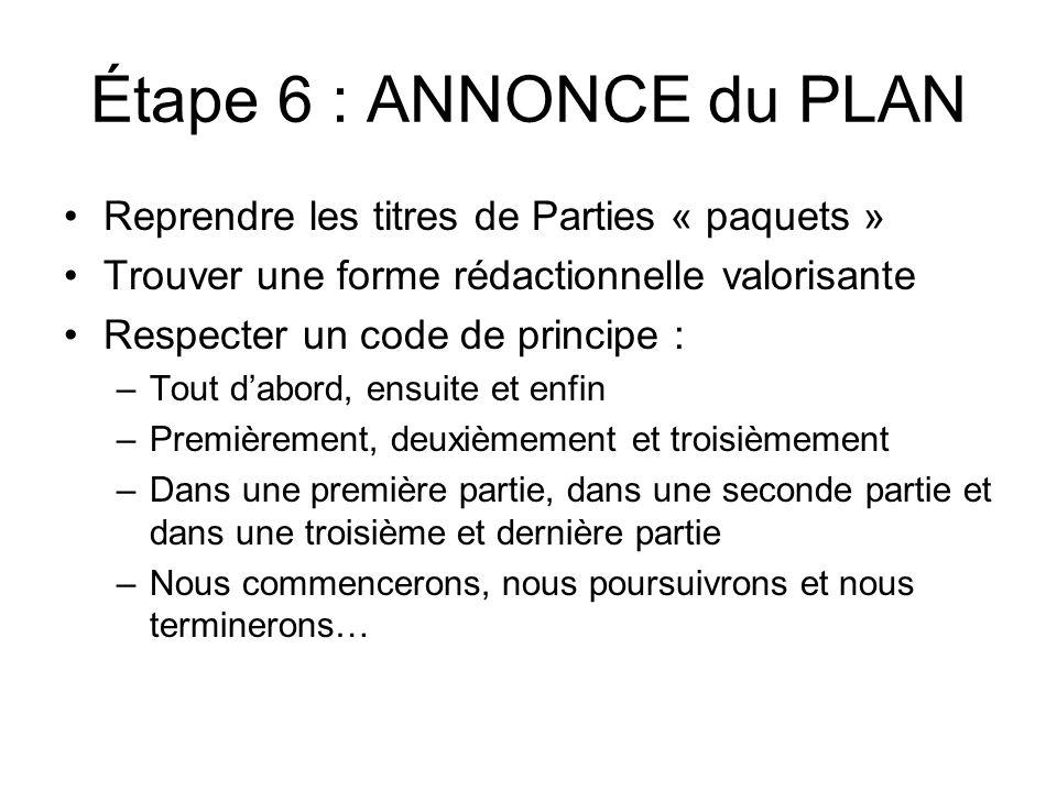 Étape 6 : ANNONCE du PLAN Reprendre les titres de Parties « paquets »
