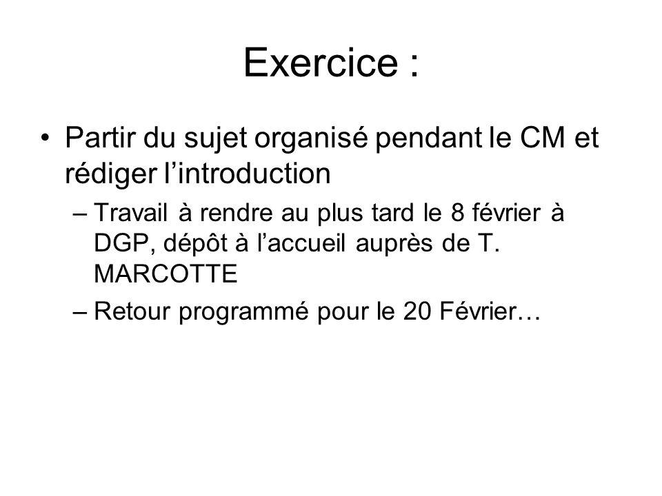 Exercice : Partir du sujet organisé pendant le CM et rédiger l'introduction.