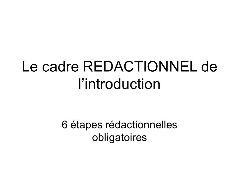 Le cadre REDACTIONNEL de l'introduction