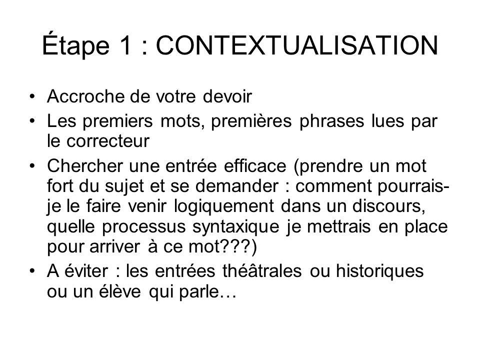 Étape 1 : CONTEXTUALISATION