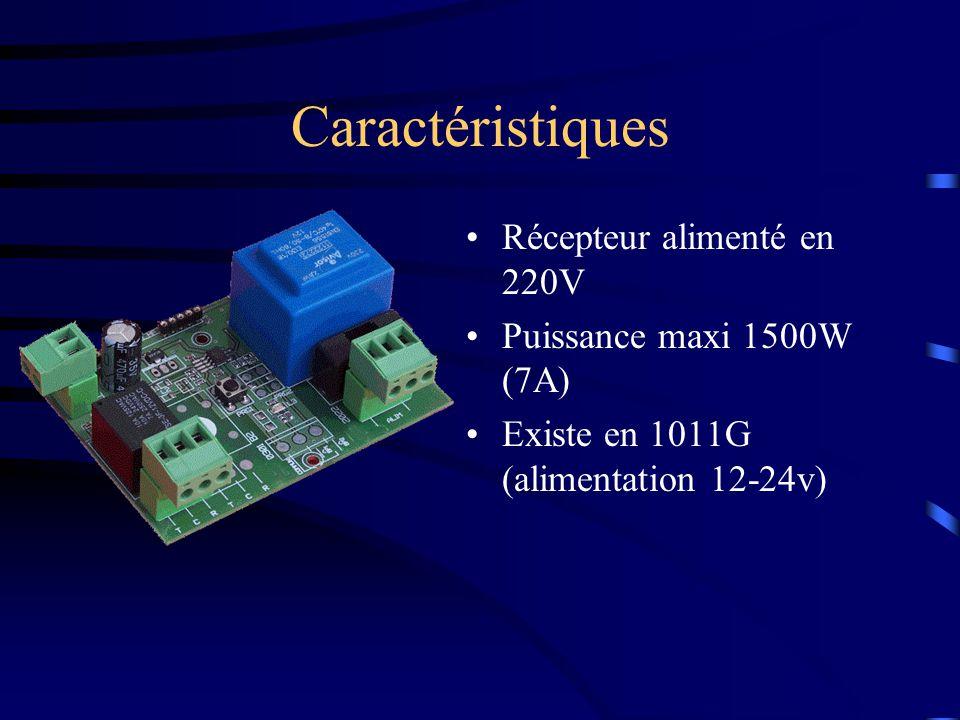 Caractéristiques Récepteur alimenté en 220V Puissance maxi 1500W (7A)