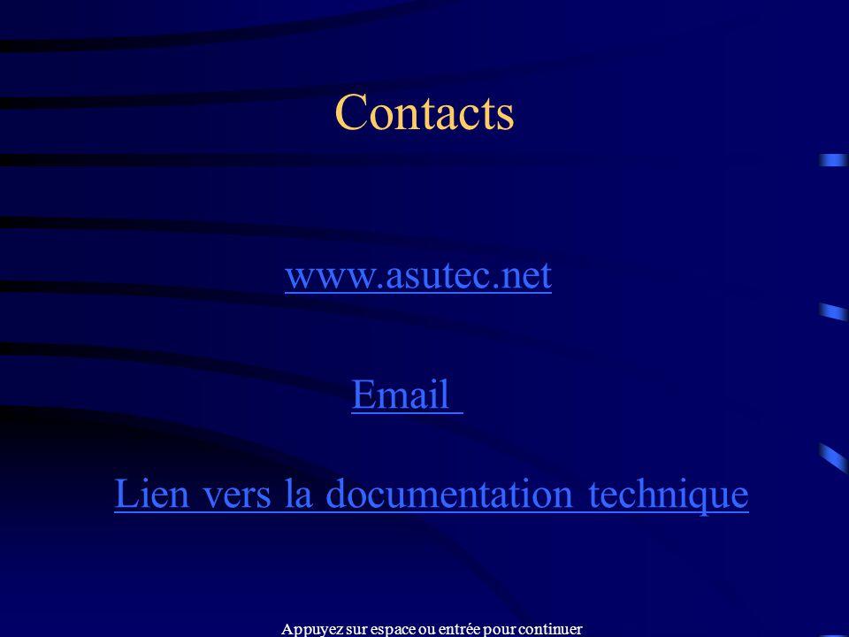 Contacts www.asutec.net Email Lien vers la documentation technique