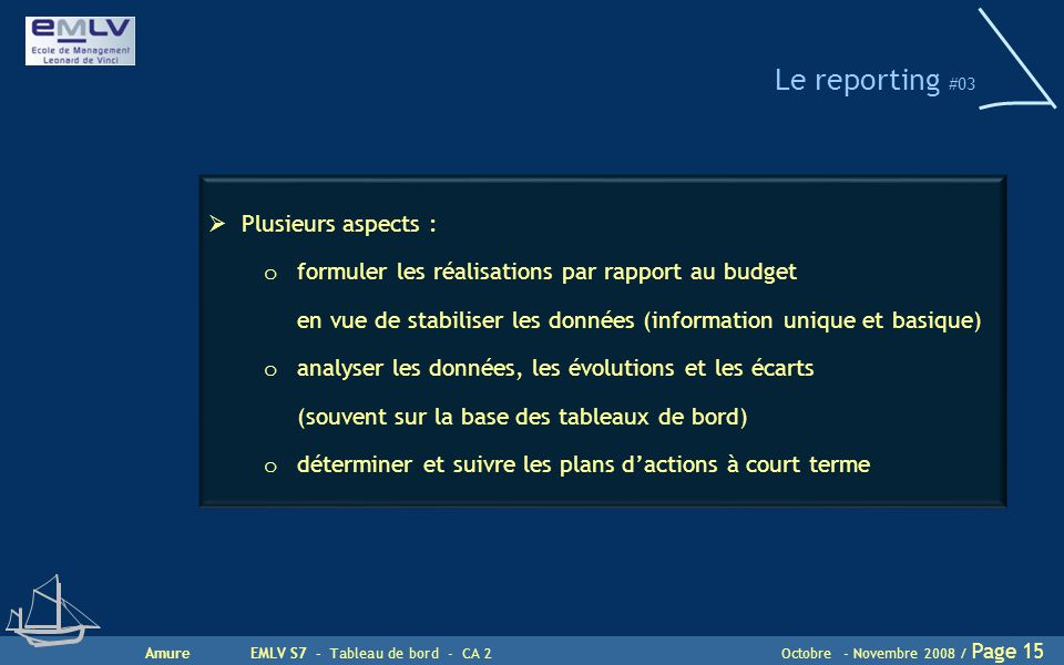 Le reporting #03 Plusieurs aspects :