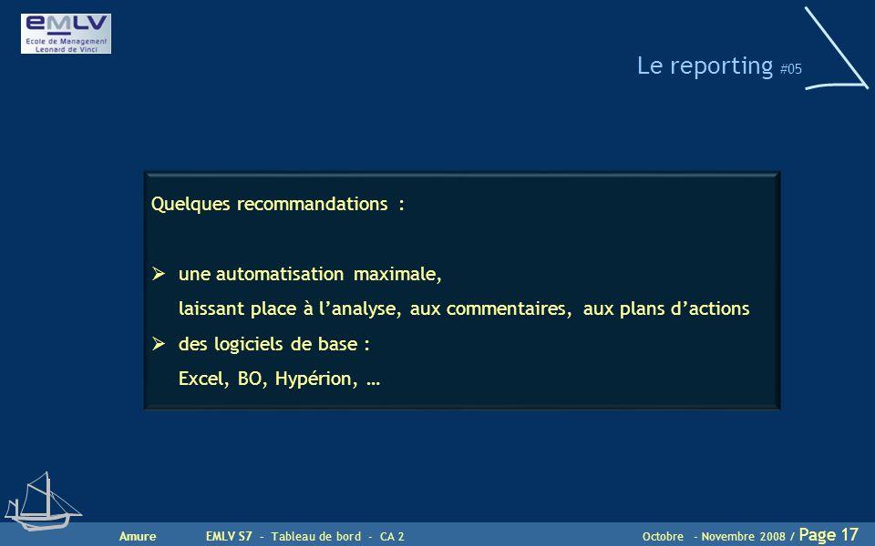 Le reporting #05 Quelques recommandations :