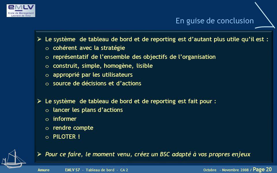 En guise de conclusion Le système de tableau de bord et de reporting est d'autant plus utile qu'il est :