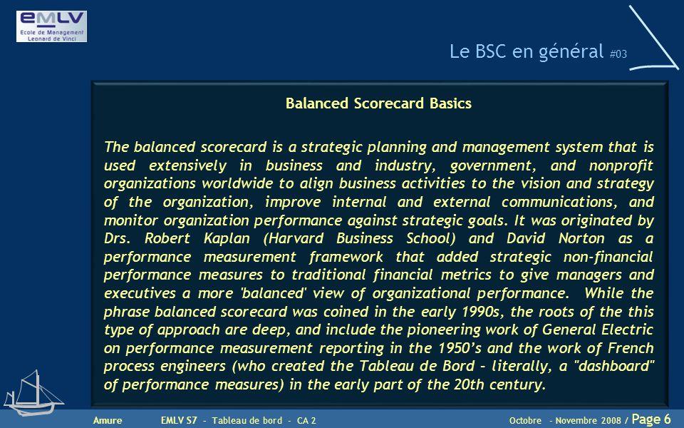Le BSC en général #03