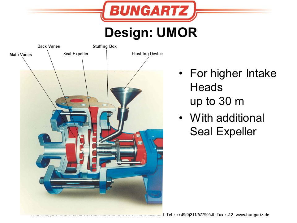 Design: UMOR For higher Intake Heads up to 30 m