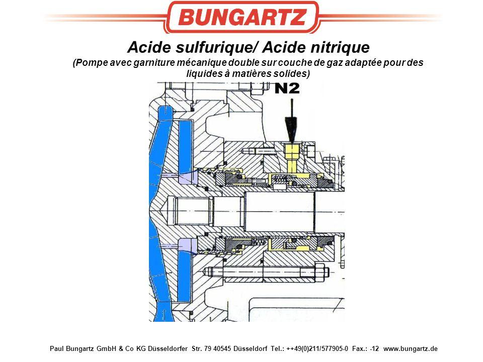 Acide sulfurique/ Acide nitrique (Pompe avec garniture mécanique double sur couche de gaz adaptée pour des liquides à matières solides)