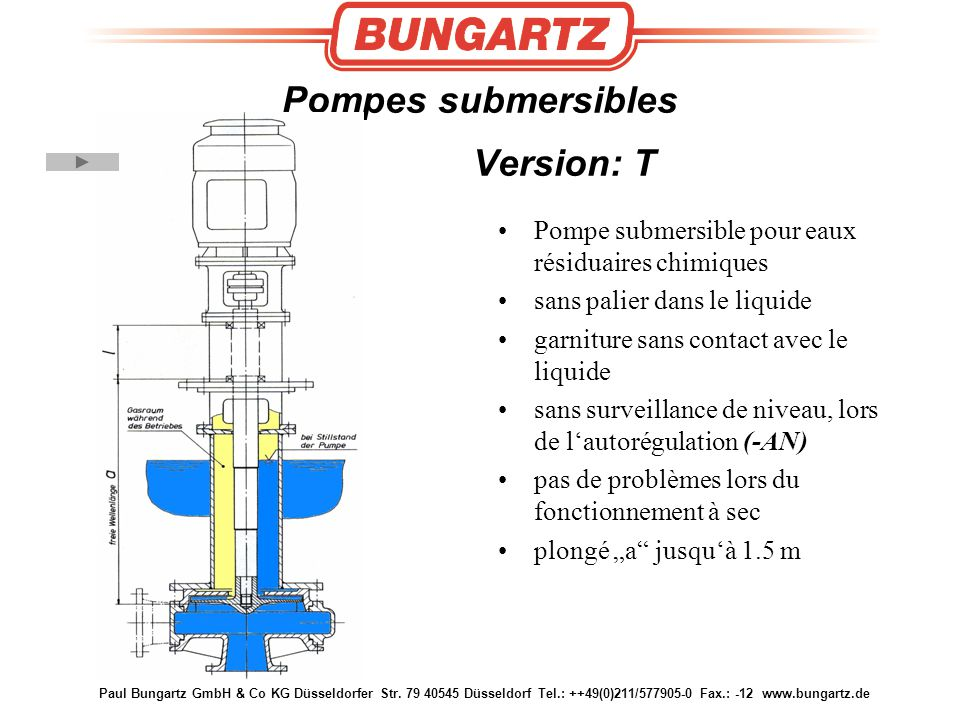 Pompes submersibles Version: T