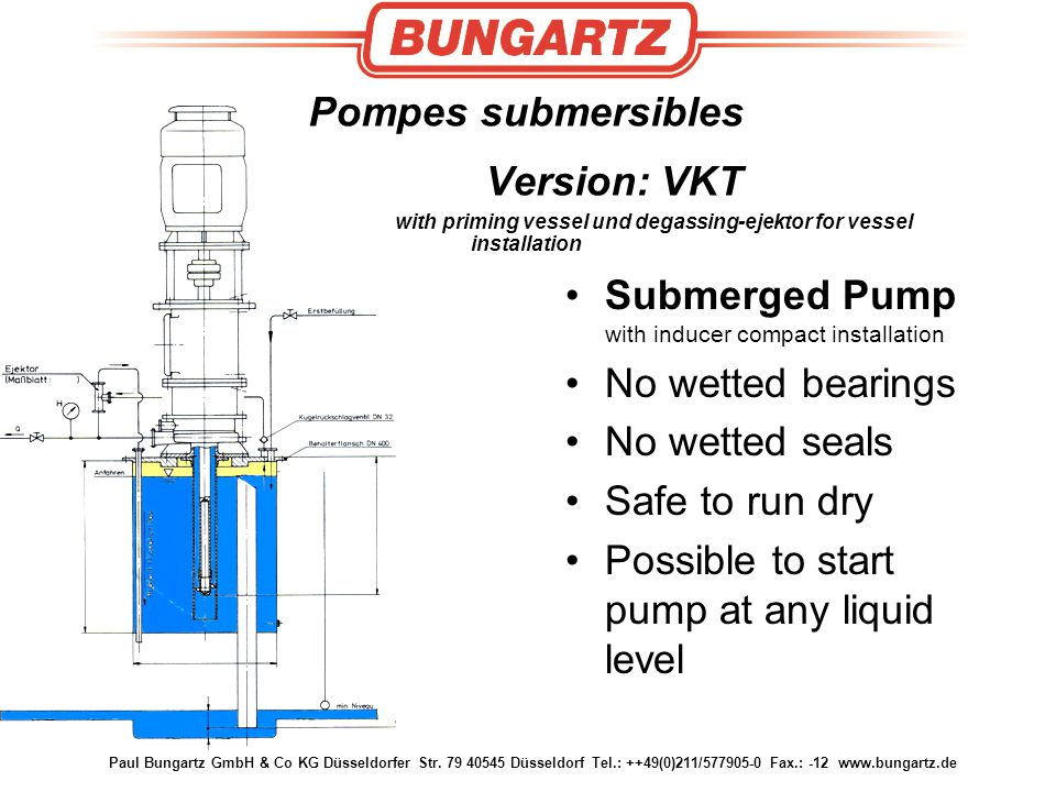 Submerged Pump with inducer compact installation No wetted bearings