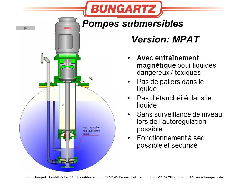 Pompes submersibles Version: MPAT