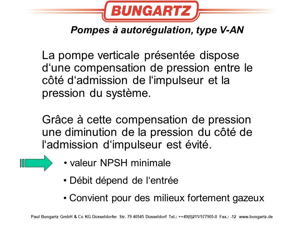 Pompes à autorégulation, type V-AN