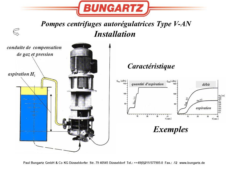 Pompes centrifuges autorégulatrices Type V-AN Installation