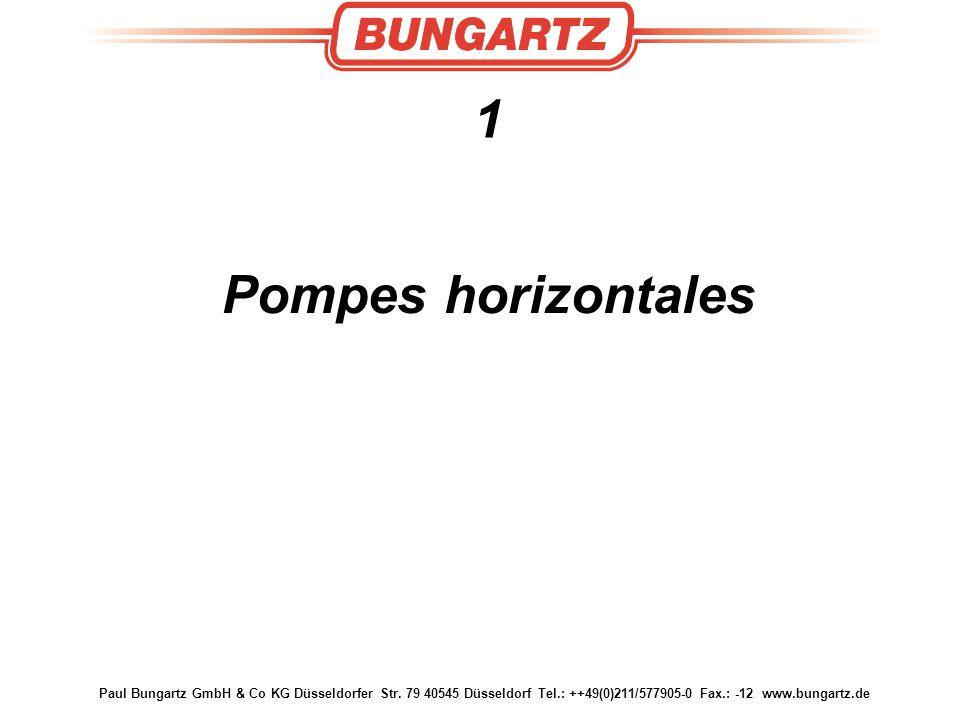 1 Pompes horizontales. Paul Bungartz GmbH & Co KG Düsseldorfer Str.